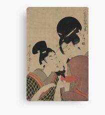 Sake cup - Utamaro Kitagawa - 1801 Canvas Print