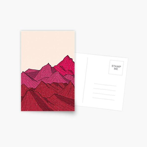 Der fallende Schnee und die Berge Postkarte