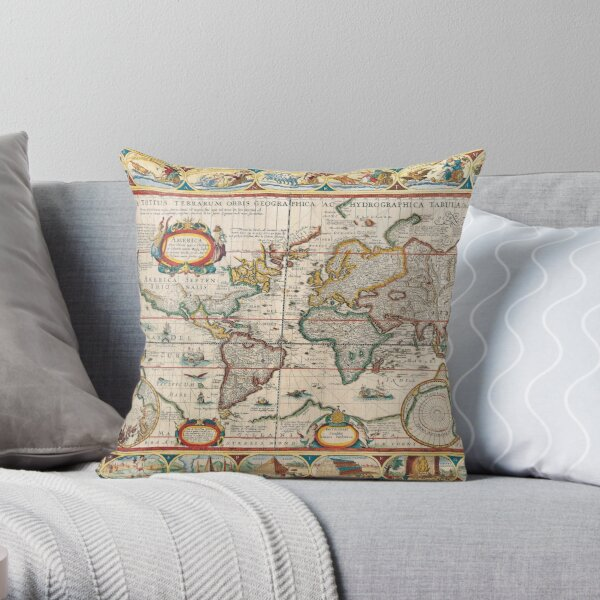 Antique Maps of the World The Americas 1628 Throw Pillow