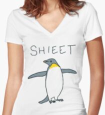 shieet a penguin Women's Fitted V-Neck T-Shirt