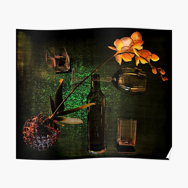 Green still life with orchid Poster