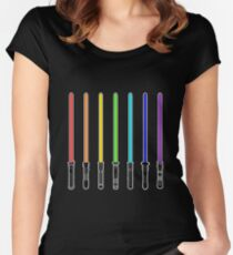 What Color is Your LightSaber Star Wars Rainbow Women's Fitted Scoop T-Shirt