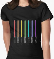 What Color is Your LightSaber Star Wars Rainbow Womens Fitted T-Shirt