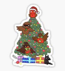 Robins around the Christmas tree Sticker