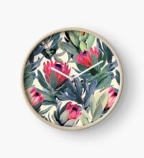 Painted Protea Pattern Clock