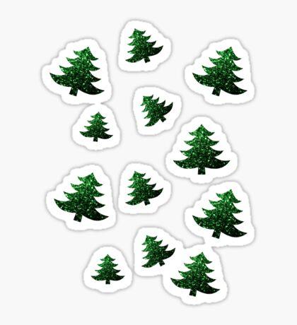 Sparkly Christmas tree green sparkles pattern Sticker