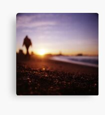 Man walking on beach at sunset square color analogue medium format film Hasselblad photograph Canvas Print