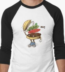 Burger Greeting Men's Baseball ¾ T-Shirt