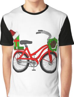 Christmas Bicycle Graphic T-Shirt