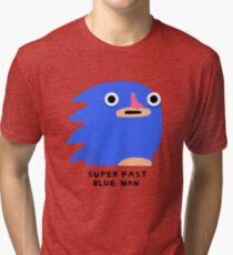Super fast blue man (black text) Tri-blend T-Shirt