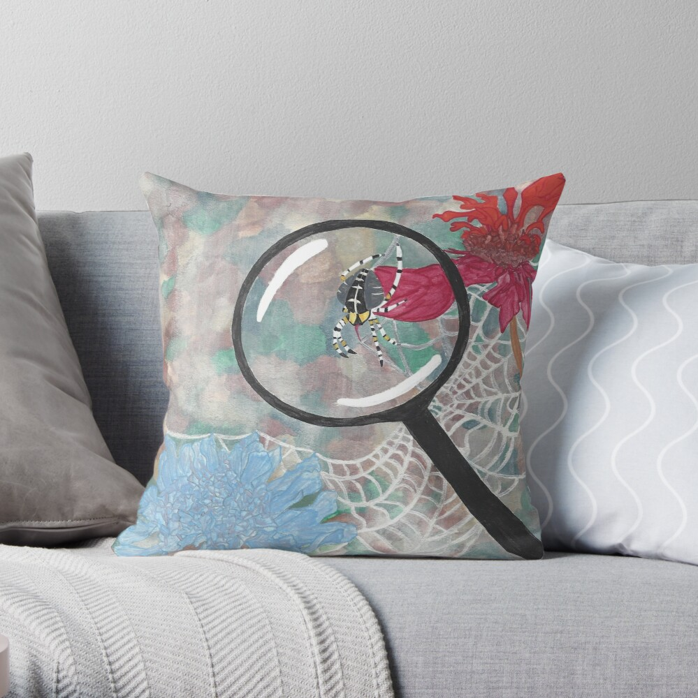 Magnifying Glass Spider Throw Pillow