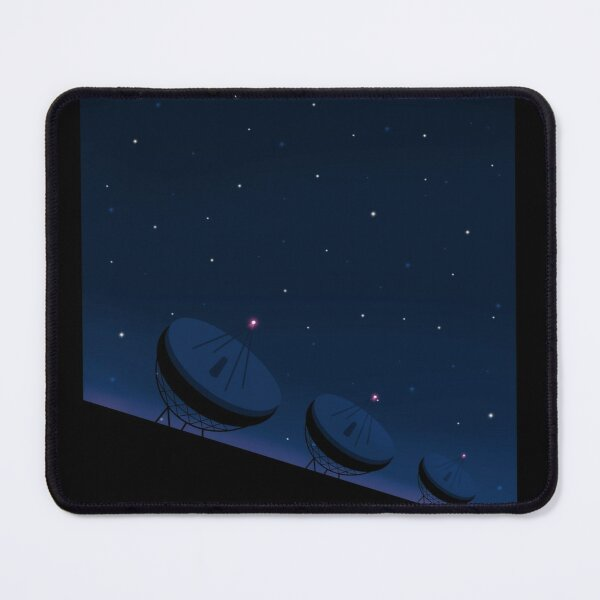 Radio telescopes in front of night sky Mouse Pad