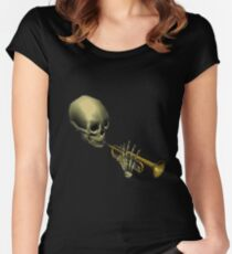 Spooky Skeltal Trumpet Women's Fitted Scoop T-Shirt
