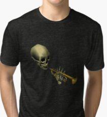 Spooky Skeltal Trumpet Tri-blend T-Shirt