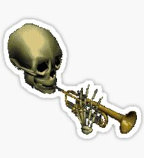 Spooky Skeltal Trumpet Sticker