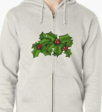 Christmas Holly Art Zipped Hoodie