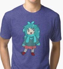 Chibi Blue-Green Girl Tri-blend T-Shirt