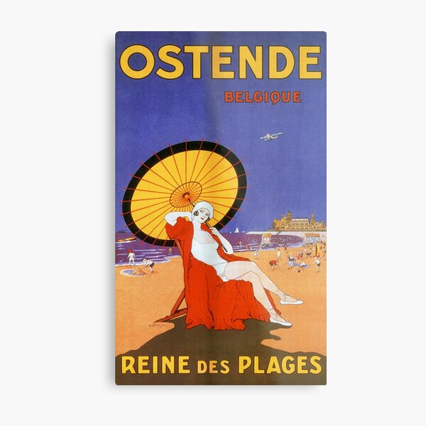 Ostend Queen of beaches 1920s bathing beauty summer travel Metal Print