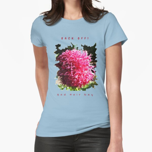 BAD HAIR DAY, PINK DAHLIA FLOWER Fitted T-Shirt