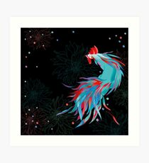 Blue  Rooster Art Print