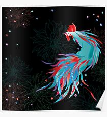 Blue  Rooster Poster