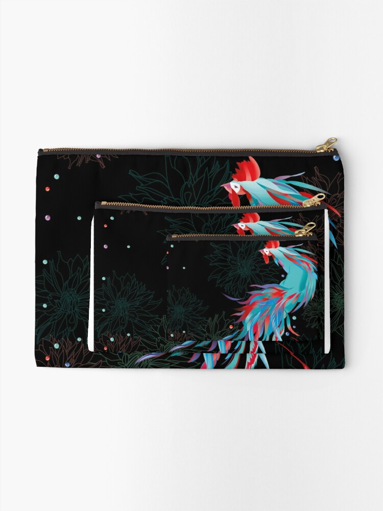 Alternate view of Blue  Rooster Zipper Pouch