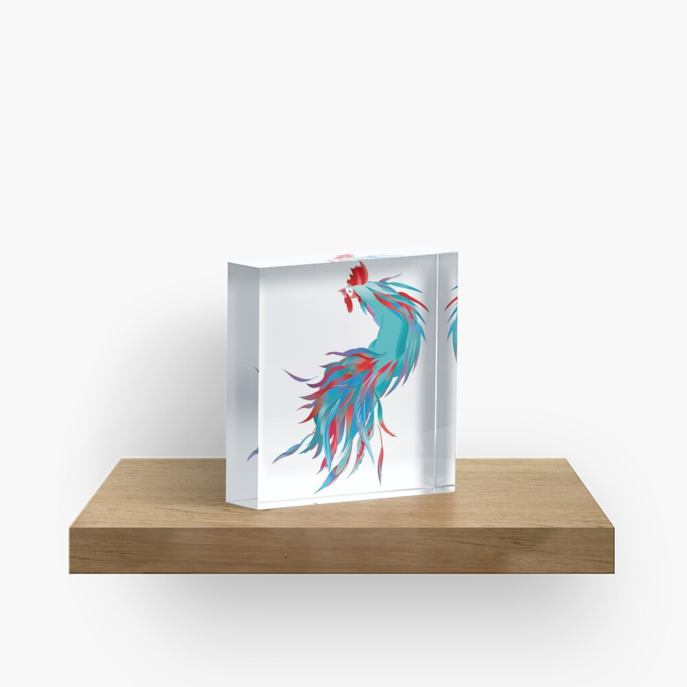 Blue  Rooster Acrylic Block