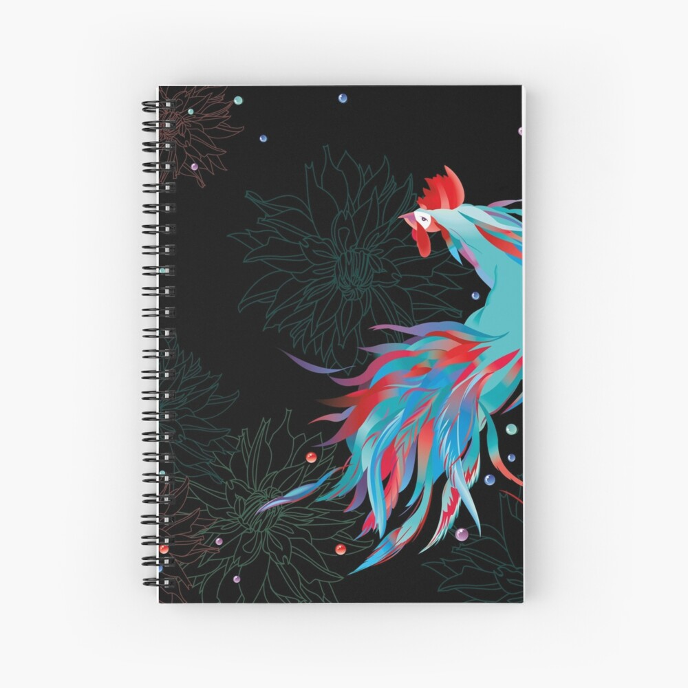 Blue  Rooster Spiral Notebook