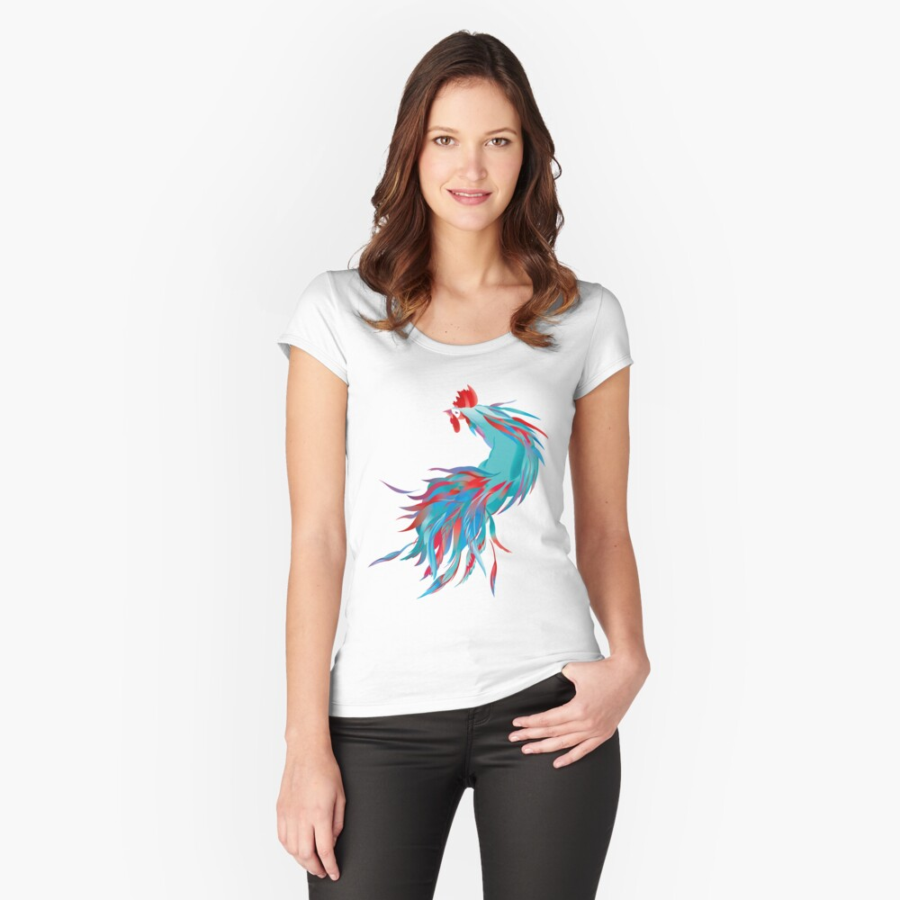 Blue  Rooster Fitted Scoop T-Shirt