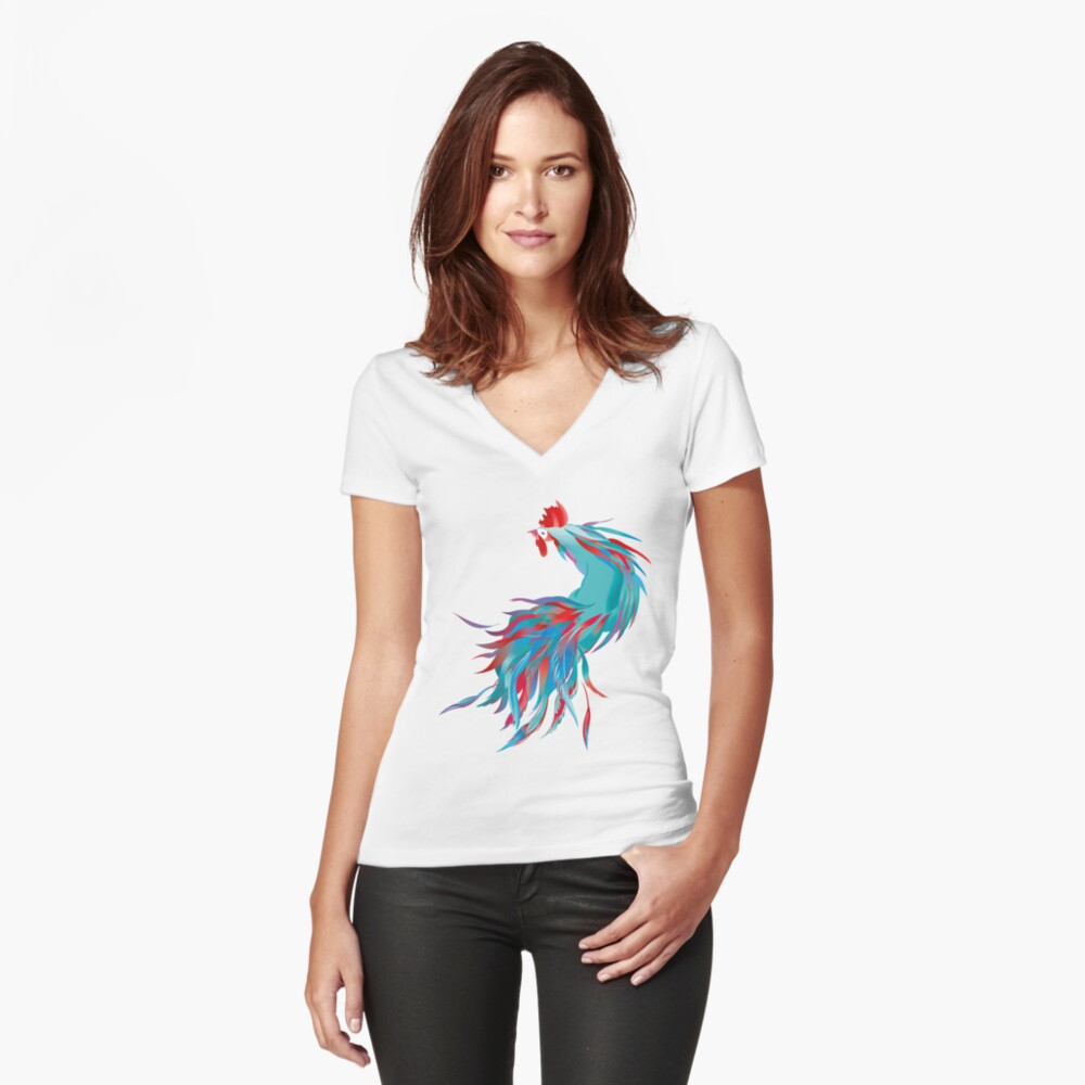 Blue  Rooster Fitted V-Neck T-Shirt