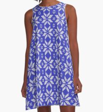 Knitted Snowflake Blue A-Line Dress