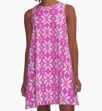 Knitted Snowflake Pink A-Line Dress