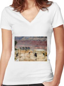 Beautiful scenic at Grand Canyon national park, USA in winter Women's Fitted V-Neck T-Shirt