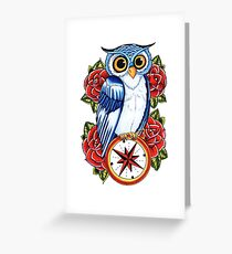 Owl Compass Rose tattoo design Greeting Card