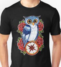 Owl Compass Rose tattoo design Unisex T-Shirt