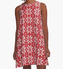 Knitted Snowflake Red A-Line Dress