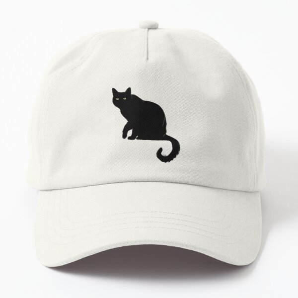 Pitch Black Cat - Orange Background Dad Hat