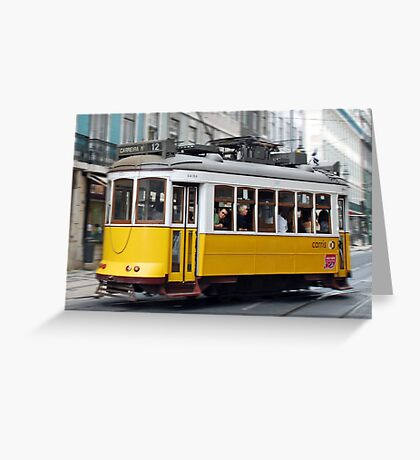 Yellow tram of Lisbon - Portugal Greeting Card