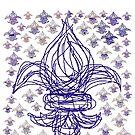 Fleur de lis pattern blue red by HEVIFineart