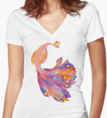 Pink Peacock Fitted V-Neck T-Shirt