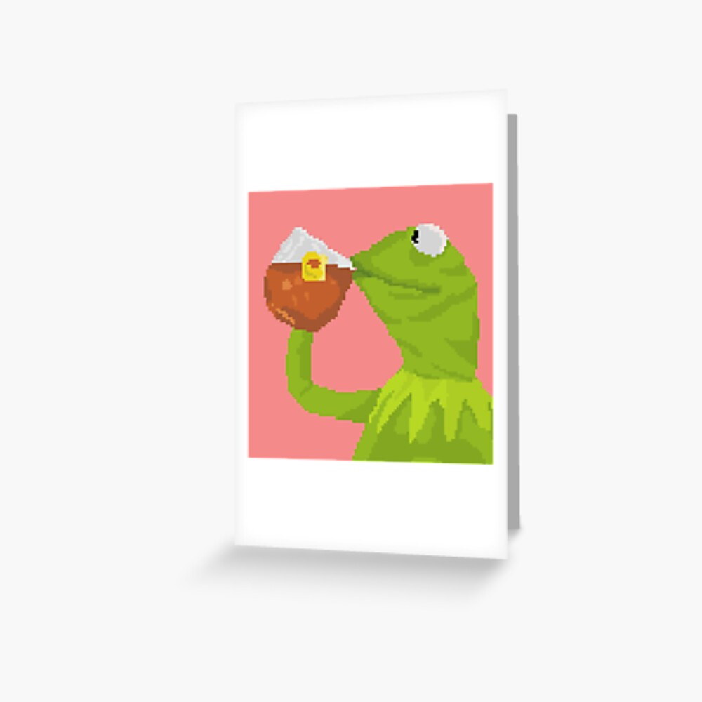 """Kermit The Frog Tea Pixel Art Sticker"" Greeting Card By"