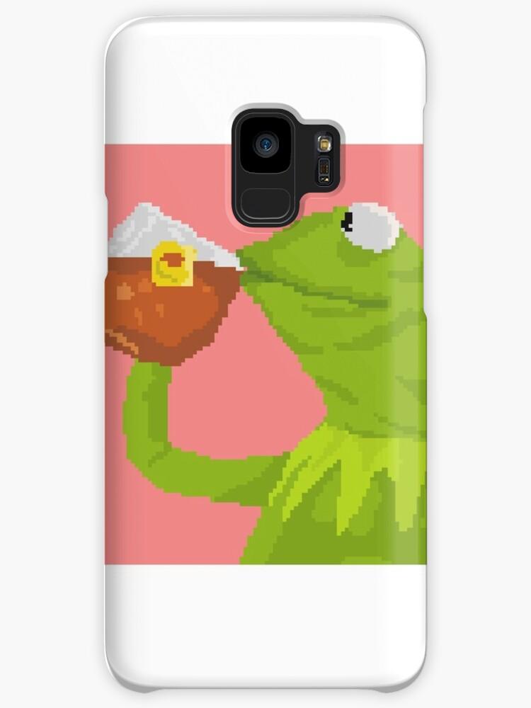 Kermit The Frog Tea Pixel Art Sticker Cases Skins For Samsung