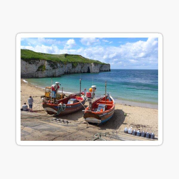 Fishing boats on the shore at Flamborough Sticker