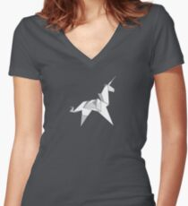 Origami Unicorn  Women's Fitted V-Neck T-Shirt