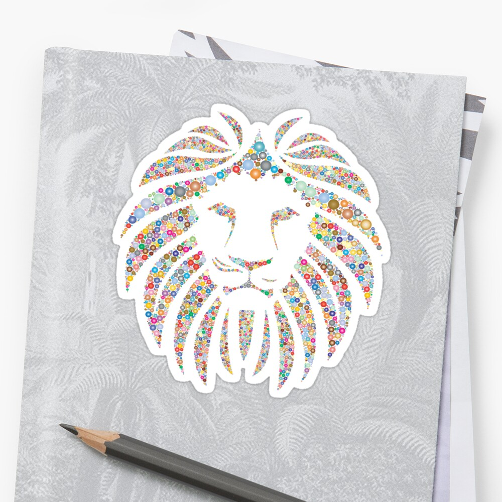 Bunter Mandala-Löwe - Lion Stickers\
