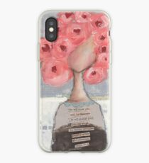 Pink flowers in her hair iPhone Case