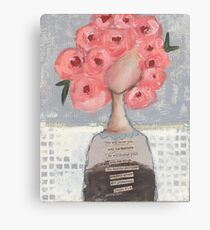 Pink flowers in her hair Canvas Print