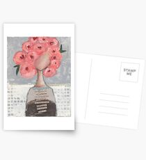 Pink flowers in her hair Postcards