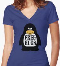 Hugs the Penguin Women's Fitted V-Neck T-Shirt