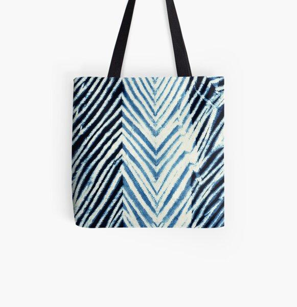 Indigo shibori blue and white tote bag
